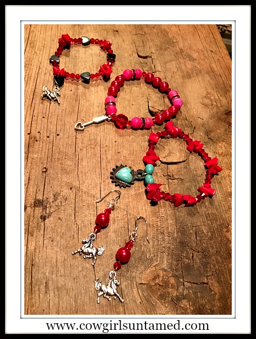 FOR THE LOVE of HORSES Red & Silver Charm Stretch Bracelets  You Choose!Bracelets are stretch