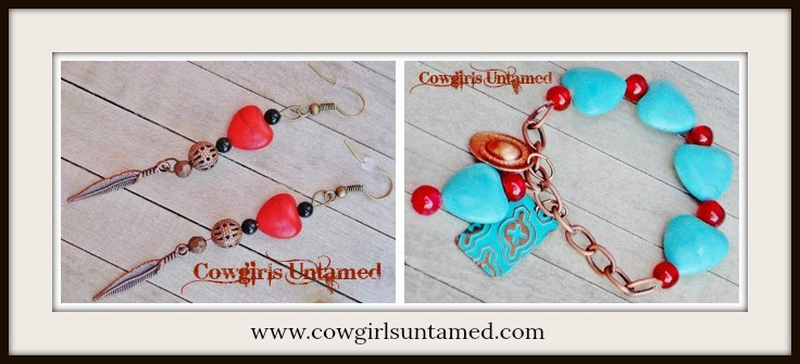 COWGIRL STYLE BRACELET SET Red & Aqua Turquoise Copper Feather Charm Stretch Bracelet and Matching Earring SET