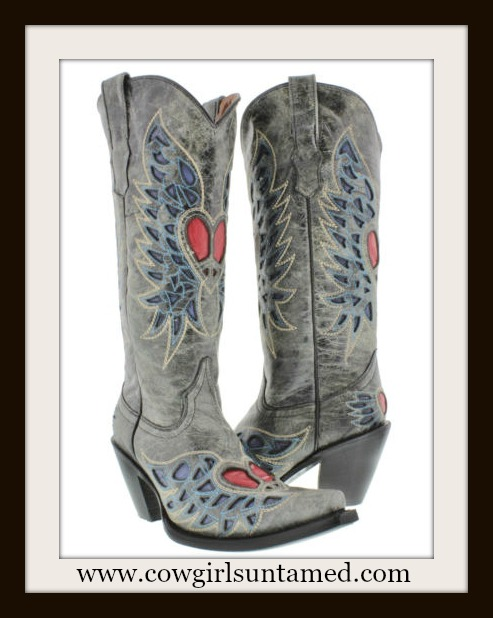 COUNTRY COWGIRL BOOTS Red Heart and Angel Wing Distressed GREY GENUINE LEATHER Western Boots