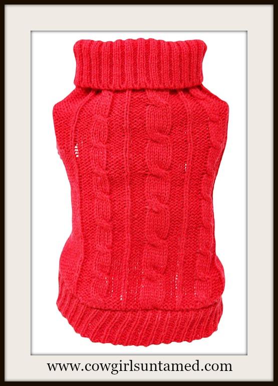 BLINGIN' BESTIES Red Knit Dog Sweater