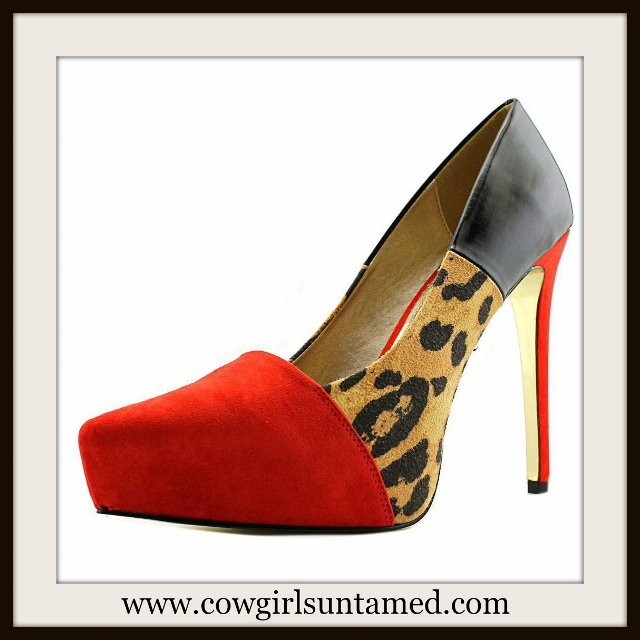 COWGIRL GLAM HEELS Red Leopard and Black Leather Designer Platform Heels