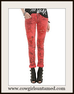 COWGIRLS ROCK JEANS Light Red Leopard Distressed Designer Skinny Jeans