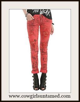 COWGIRLS ROCK JEANS Light Red Leopard Distressed Designer Skinny Jeans