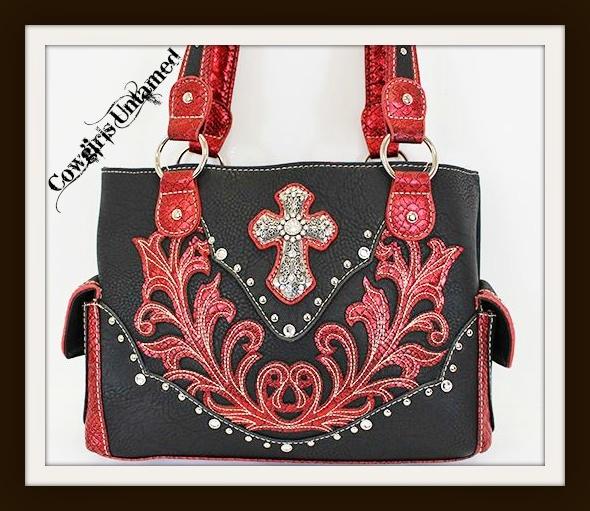 SPIRITUAL COWGIRL HANDBAG Silver Rhinestone Cross Studded Red and Black Leather Western Handbag