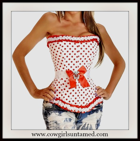 CORSET - Red Polka Dot White Cotton with Satin Trim Side Zip Lace Up Back Corset