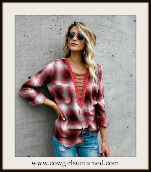 COWGIRL STYLE TOP Lace Up Deep V Neck Oversized Red Plaid Top