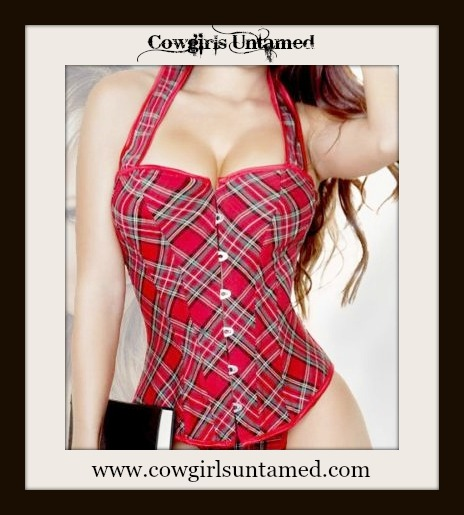 COWGIRL STYLE TOP Red Plaid Halter Style Denim Lace Up Corset Top