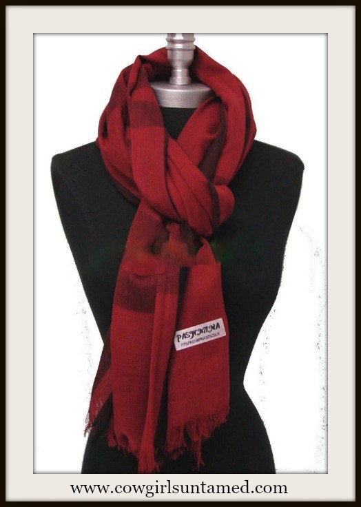 COWGIRL GLAM SCARF Red & Burgundy & Black Fringe Pashmina Scarf Shawl
