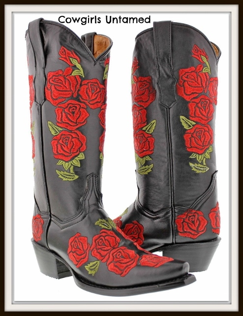 COWGIRL GYPSY BOOTS Embroidered Red Roses on BLACK Genuine Leather Cowgirl Boots