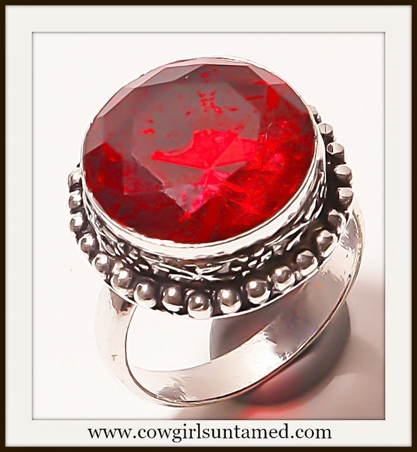 WESTERN COWGIRL RING 925 Sterling Silver and Red Garnet Ring