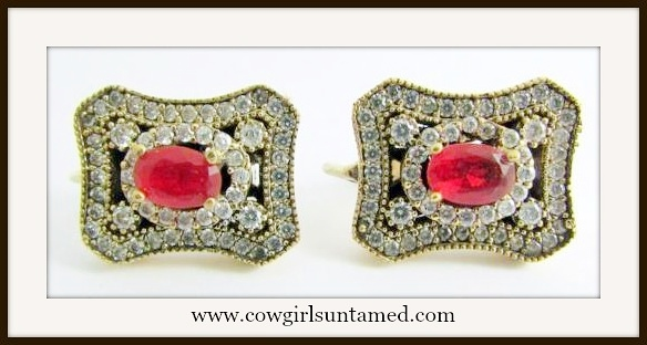 VINTAGE GYPSY EARRINGS Vintage Style Red Ruby Gemstone Sterling SIlver Earrings