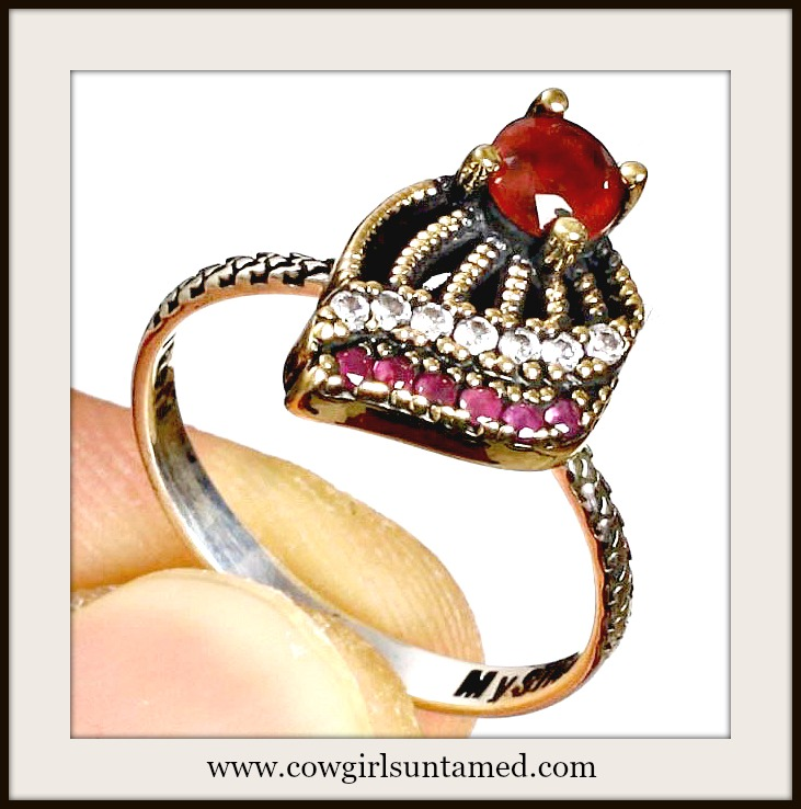 VINTAGE GYPSY RING Handmade Red Ruby & Topaz .925 Sterling Silver and Bronze Ring