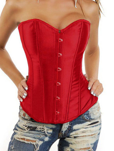 CORSET - Red Satin Lace Up Back Corset Top