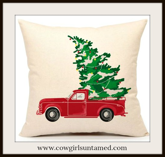 COWGIRL CHRISTMAS DECOR Red Pickup Truck with Christmas Tree Vintage Style Pillow Case
