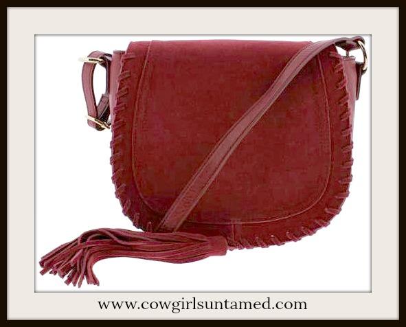 COWGIRL GLAM HANDBAG Red Faux Leather Tassel Designer Saddle Handbag