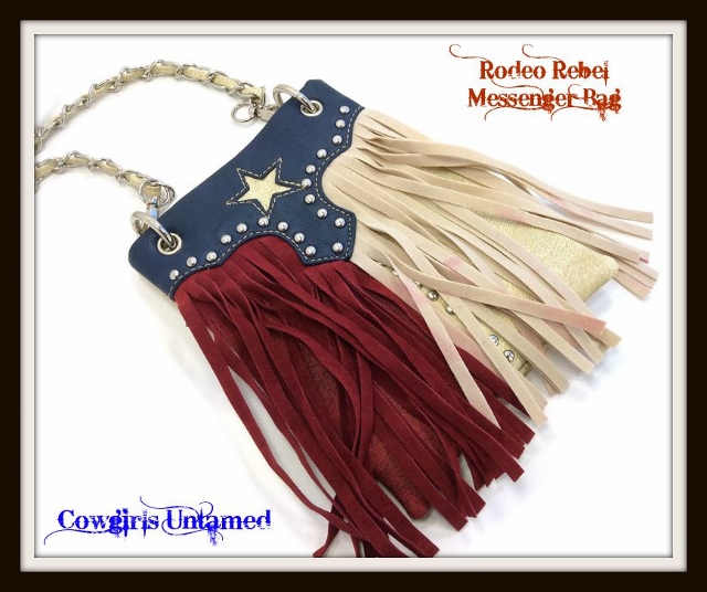 RODEO REBEL BAG Red Tan and Blue Texas Flag Studded with Fringe Messenger Bag
