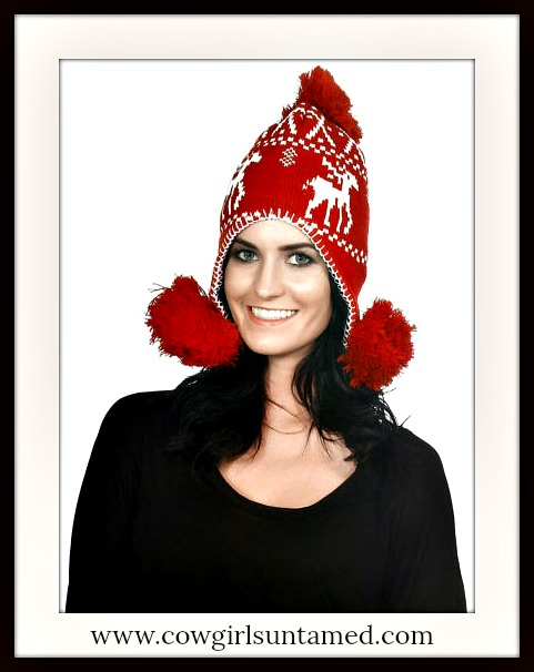 COWGIRL COUNTRY HAT Red & White Deer Pom Pom Winter Knit Hat