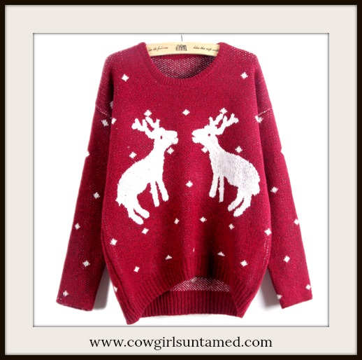 COWGIRL CHRISTMAS SWEATER White Deer & Dots on Soft Red Sweater