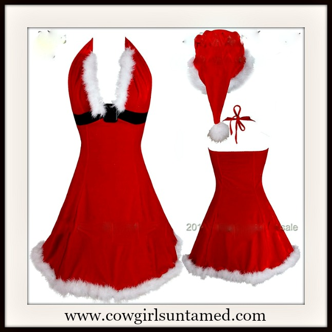COWGIRL CHRISTMAS LINGERIE Red Velvet and White Fur Mrs Santa Claus Halter Deep V Halter Dress and Hat Costume Lingerie SET