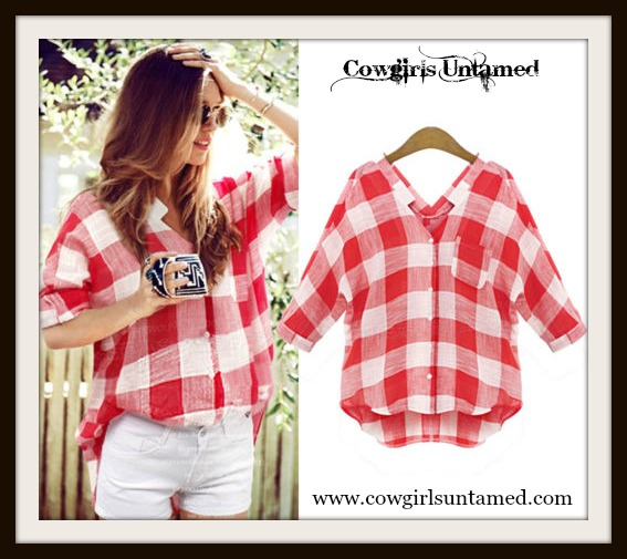 WILDFLOWER TOP Red and White Checked Plaid Top
