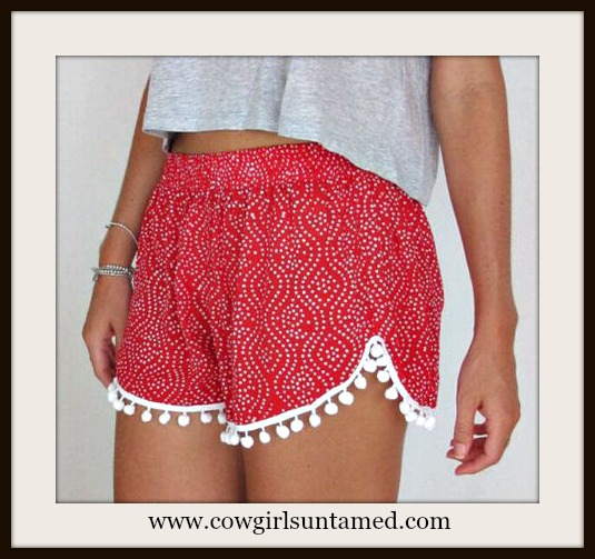 COWGIRL GYPSY SHORTS Red and White Polka Dot with White Pom Pom Fringe Shorts