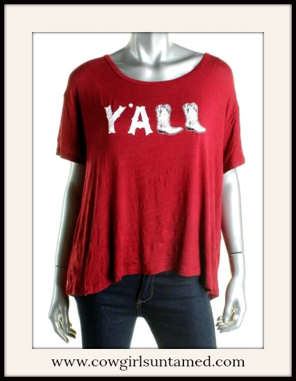 """COWGIRL STYLE TOP """"Y'All"""" with Cowgirl Boot Graphic Short Sleeve Loose Fit Designer T-shirt"""