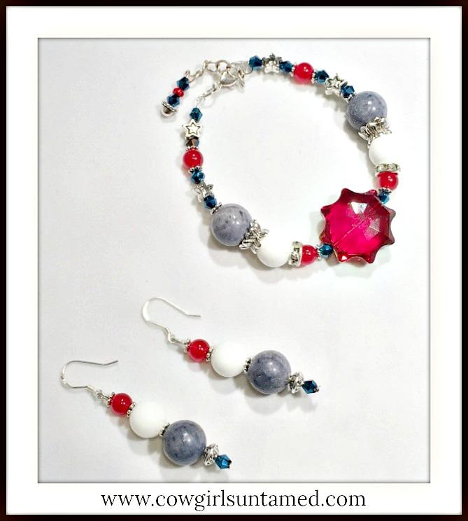 AMERICAN PRIDE JEWELRY SET Red White and Blue Gemstone Crystal Star Earrings & Bracelet Set