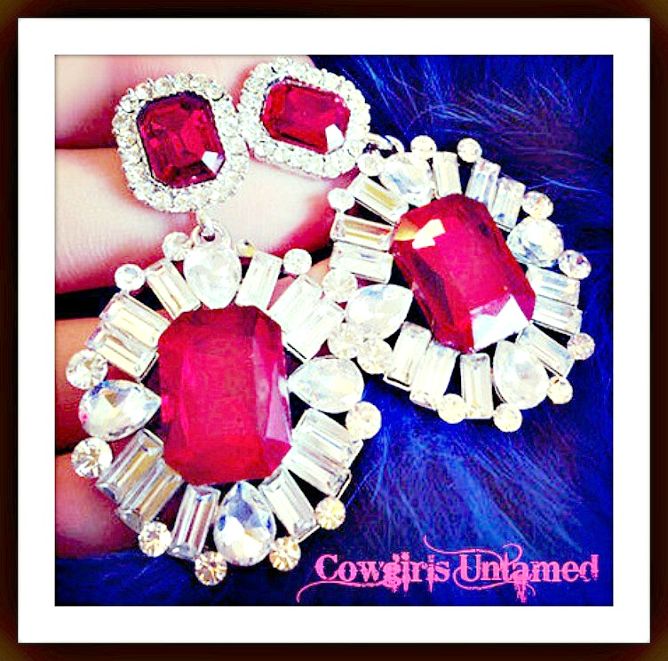 COWGIRL GLAM EARRINGS Red and Clear Large Pierced Earrings