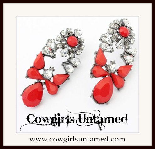 COWGIRL GYPSY EARRINGS Red Stone Droplets and Clear Rhinestone Silver Earrings