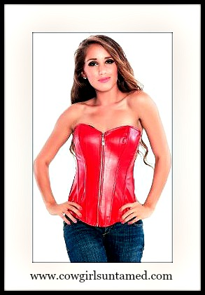 CORSET - Red Faux Leather  Sweetheart Neckline Lace Up Back and Boned Western Corset Top