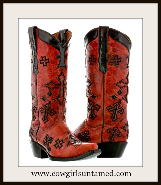 COWGIRL STYLE BOOTS Embroidered Black Crosses on Distressed Red Leather Cowgirl Boots
