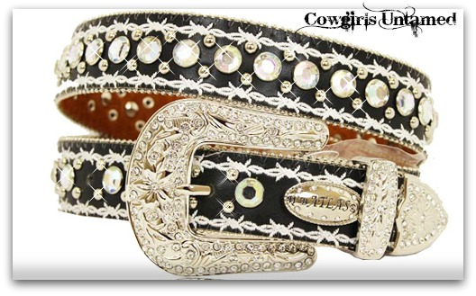 ATLAS BELT Silver Embroidered Double Barbed Wire Rhinestone Trim on Black Leather COWGIRL Western Belt
