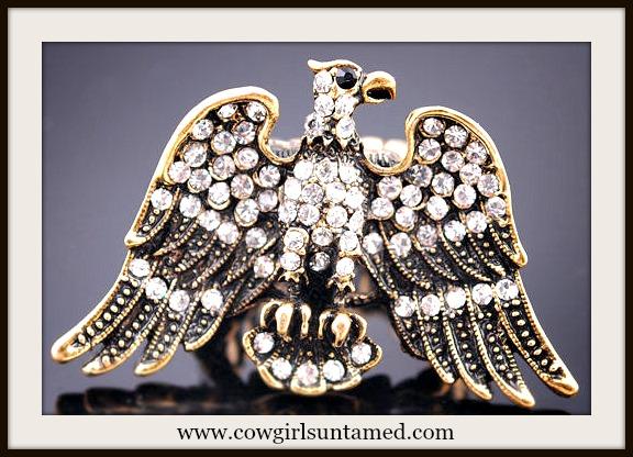 WESTERN COWGIRL RING Rhinestone Goldtone Eagle Ring