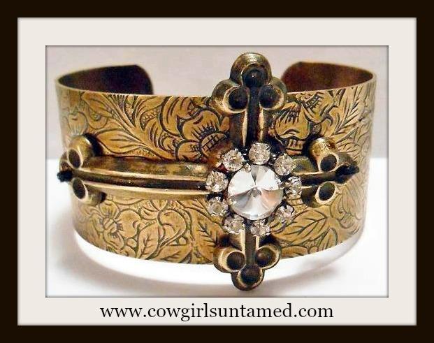 COWGIRL GYPSY CUFF Rhinestone Antique Bronze Cross on Floral Embossed Metal western Cuff Bracelet