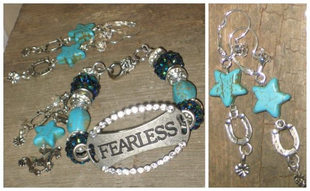 "COWGIRL STRONG BRACELET SET Rhinestone Antique Silver ""Fearless"" Charm Bracelet and Rhinestone Turquoise Star & Horseshoe Charm Earrings SET"