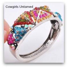 COWGIRL GYPSY CUFF Aqua Red Pink Orange Aztec Tribal Rhinestone Silver Cuff Bracelet