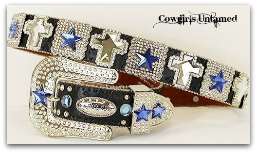 COWGIRL STYLE BELT Rhinestone & Blue Crystal STAR and Clear Crystal Cross Concho on Black Leather Western Belt
