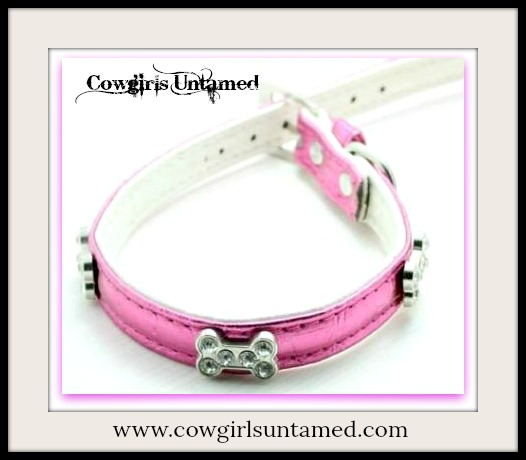 COWGIRL PET STYLE COLLAR Metallic Hot Pink Leather Rhinestone Silver Bone Accented Dog Collar