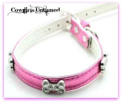 COWGIRL PET STYLE Metallic Hot Pink Leather Rhinestone Silver Bone Accented Dog Collar