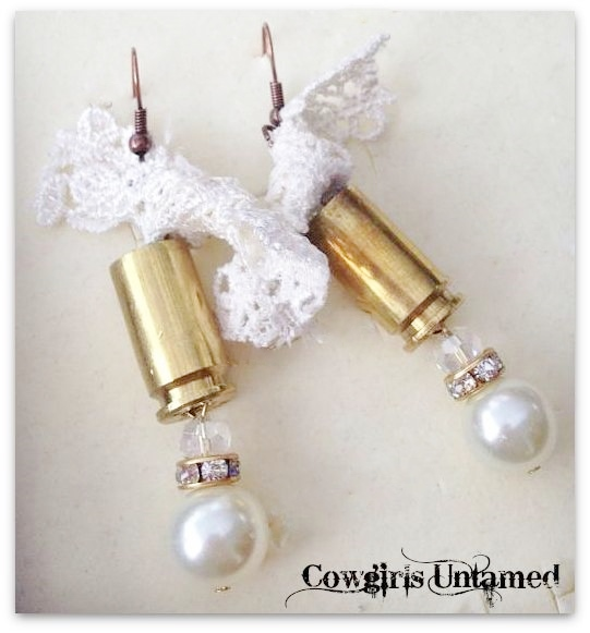 COWGIRL OUTLAW EARRINGS White Lace 40mm Bullet Shell Crystal N Pearl Western Earrings ARTISAN MADE