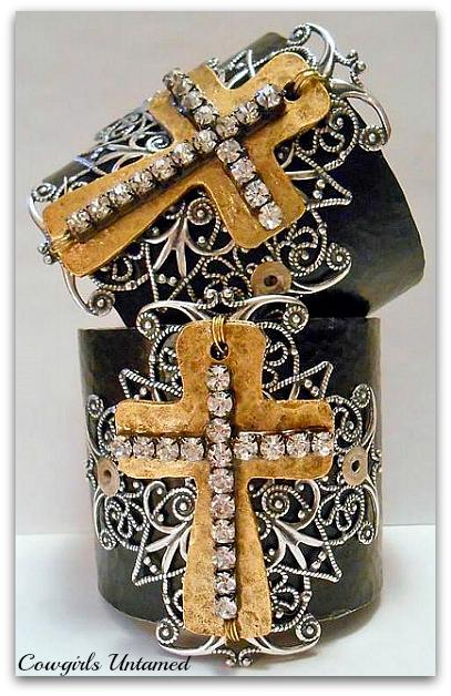 COWGIRL GYPSY CUFF Rhinestone Brass Silver Filigree Cross on Black Hammered Western Cuff Bracelet ARTISAN MADE