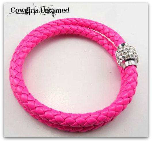 COWGIRL STYLE BRACELET Double HOT PINK Braided Leather Rhinestone Magnetic Closure Bracelet
