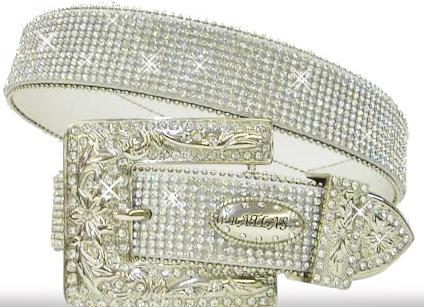 ATLAS BELT Rhinestone Trim Silver Crystal Buckle on White Leather Western Belt