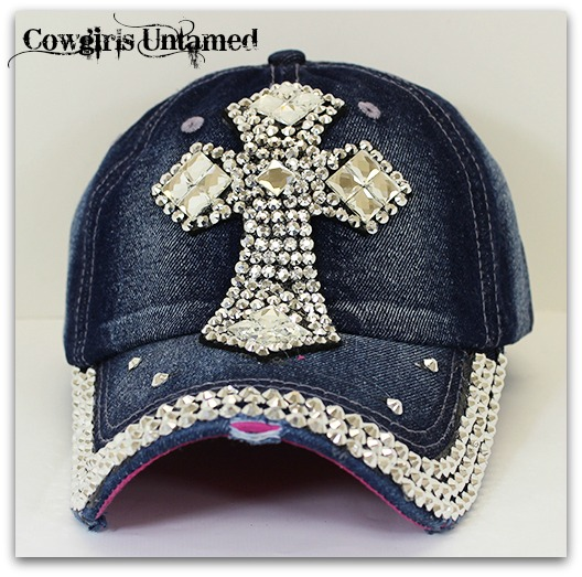 COWGIRL STYLE HAT Rhinestone Cross on Denim Jean Western Cap