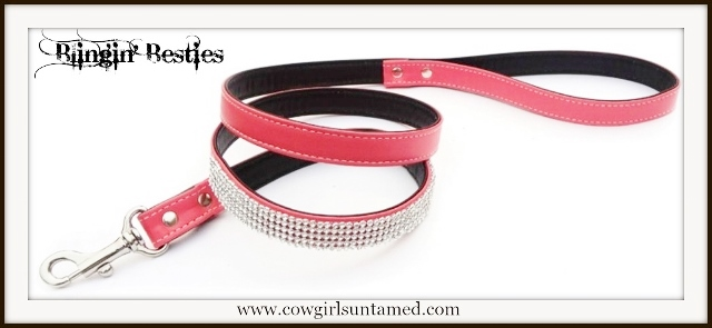 BLINGIN' BESTIES Pink Rhinestone Dog Leash