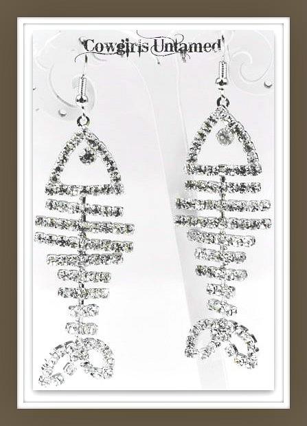 COUNTRY COWGIRL EARRINGS Rhinestone Fish Bone Western Earrings