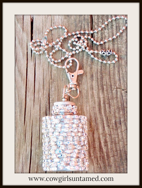 COWGIRL GLAM NECKLACE Rhinestone Stainless Steel 1oz Western Flask Western Necklace