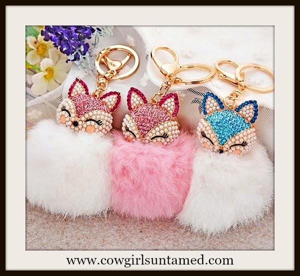 COWGIRL GLAM KEYCHAIN  Fox Pearl & Rhinestone Fur Pom Pom Key Ring