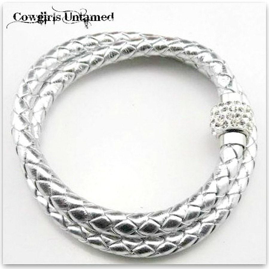 COWGIRL STYLE BRACELET Double Silver Braided Leather Rhinestone Magnetic Closure Bracelet