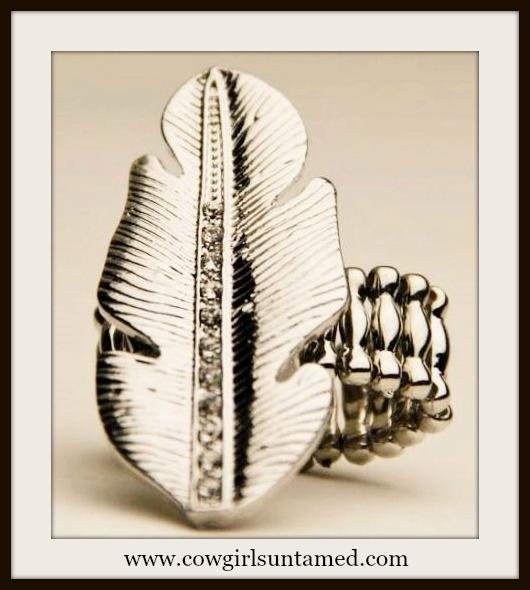 AMERICAN COWGIRL RING Rhinestone Silver Feather Stretchy Western Ring